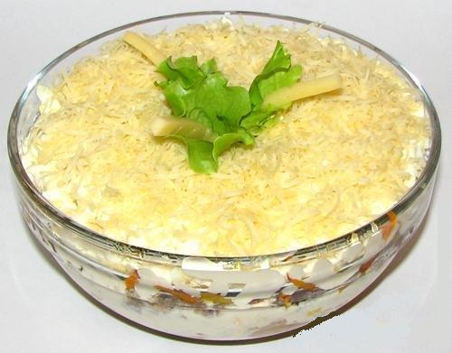 Салат с грибами и мясом