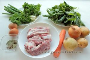 Продукты для приготовления зеленого борща
