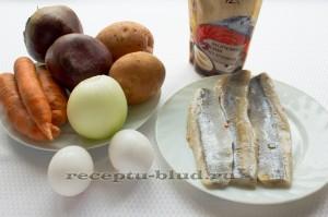 Необходимые ингредиенты для рыбы под шубой