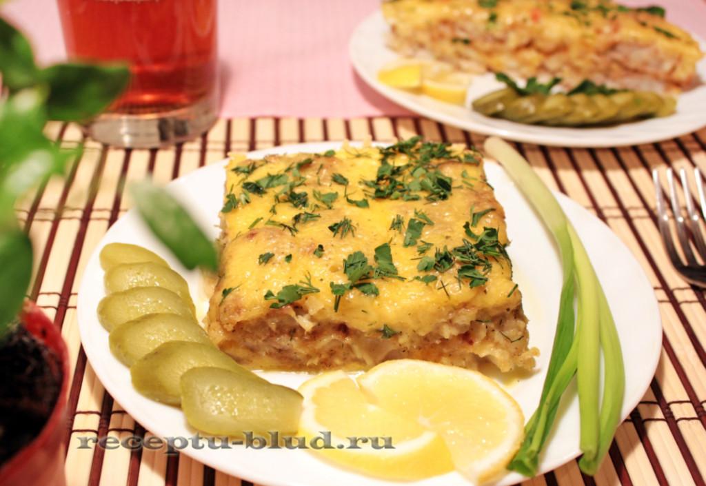 Запеченная рыба в яично-сырном суфле