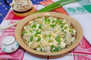 "Салат ""Сытый кум"" с грибами, курицей и ананасами"