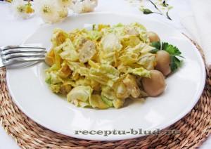 Салат из пекинской капусты с курицей и грибами