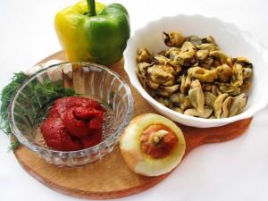 Ингредиенты для салата из мидий