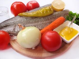 Ингредиенты для запеченной рыбы с овощами