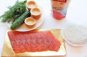Ингредиенты для закуски из красной рыбы