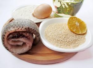 Ингредиенты для рыбы в кунжуте