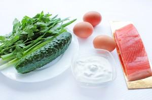 Ингредиенты для салата из семги