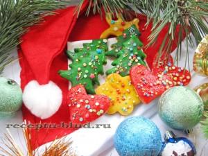 Новогоднее печенье в глазури