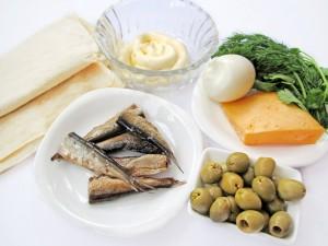 Ингредиенты для закуски из лаваша со шпротами