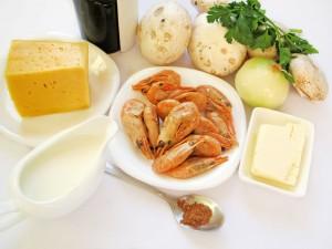Ингредиенты для жюльена с креветками