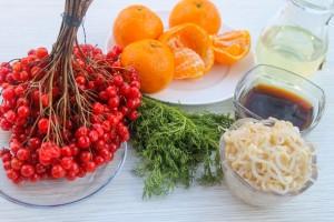 Продукты на витаминный салат с калиной