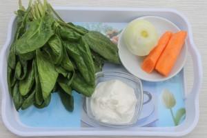 Продукты для супа пюре из шпината
