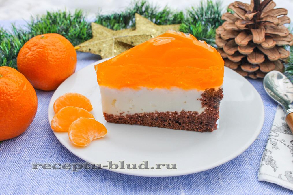 Бисквитно-желейный торт с мандаринами и сметаной