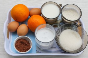 Ингредиенты для блинов на молоке с какао