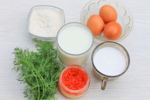 Ингредиенты для блинов на молоке