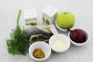 Ингредиенты для приготовления закуски из сельди
