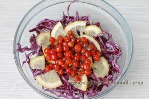 Калина в салате с капустой