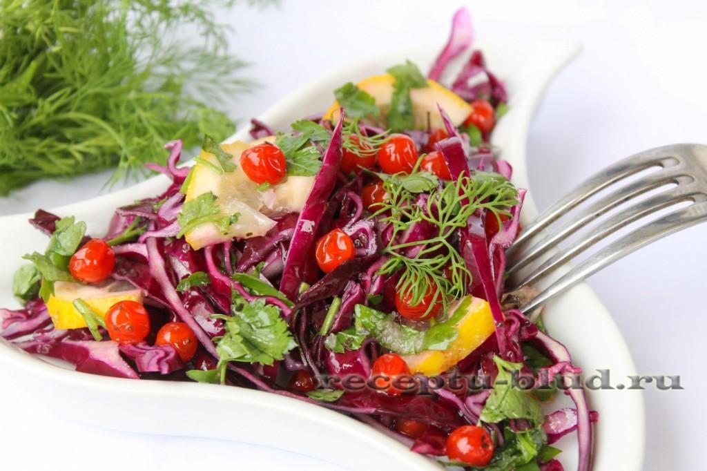 быстрый салат из красной капусты с лимоном и калиной