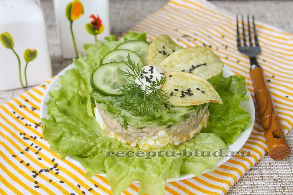 Салат с тунцом и свежим огурцом