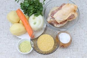 Ингредиенты для куриного супа с пшеном