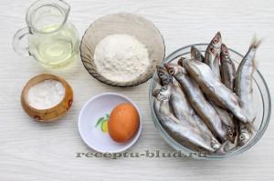 Необходимые ингредиенты для приготовления мойвы в кляре