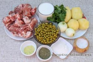 Продукты для приготовления рагу с мясом на молочном соусе