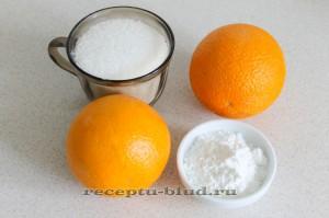 Ингредиенты для приготовления киселя из апельсинов