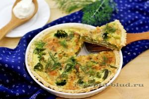 Пирог с сыром, брокколи и стручковой фасолью