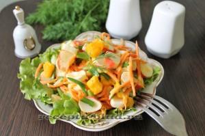 Необычный салат с крабовыми палочками, морковью и тыквой