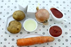 Ингредиенты для картофеля, тушенного в мультиварке