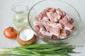 ингредиенты для приготовления свиных ребрышек в мультиварке