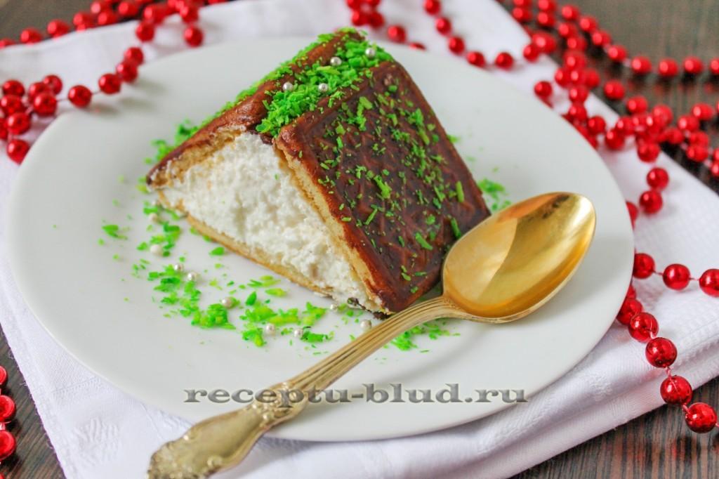 Пирожное домик из печенья и творога
