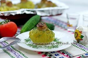 Картофель гриль в духовке, запеченный с салом