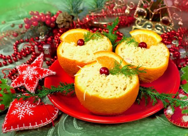Сырный салат с апельсинами