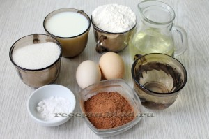 набор ингредиентов для приготовления шоколадного бисквита